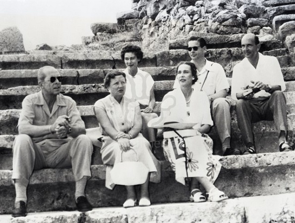 Image: 0145999354, License: Rights managed, Posing at the Delphi Amphitheatre during the Royal cruise, guided by the King and Queen of Greece, are host and hostess and four of the guests.  In front (from left): King Paul of Greece; Queen Juliana of the Netherlands and Ex-Queen Marie Jose of Italy.  Rear (from left): Queen Frederika of Greece; Ex-King Michael of Rumania and Ex-King Umberto of Italy., Place: Delphi, Greece, Model Release: No or not aplicable, Credit line: Profimedia.cz, Corbis