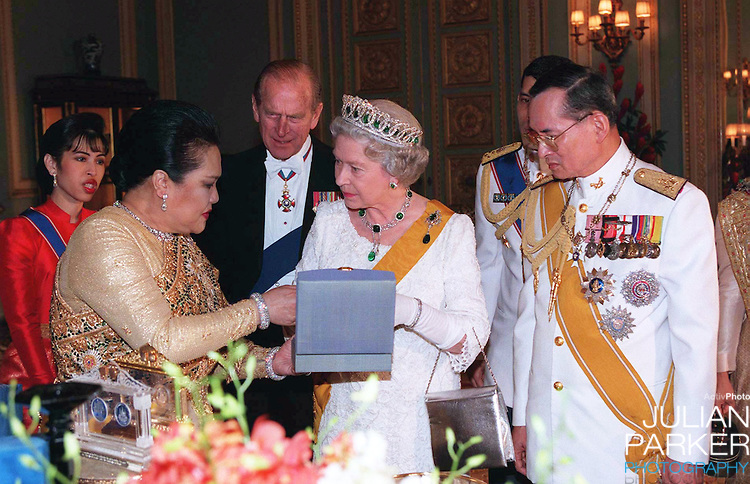 Queen Elizabeth and the Duke of Edinburgh, Sate Visit to Thailand. Queen Elizabeth, and The Duke of Edinburgh attend a State Banquet  hosted by King Bhumibol, and Queen Sirikit of Thailand,at The Grand Palace in Bangkok. Pool Picture: supplied by UK Press Ltd